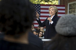 U.S. Democratic presidential candidate Hillary Clinton speaks during a community forum campaign event at Cornell College in Mt Vernon, Iowa, October 7, 2015.
