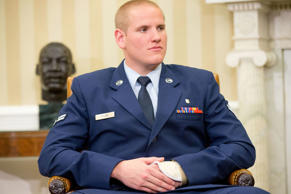 Air Force Airman 1st Class Spencer Stone at his meeting with Pres. Obama in the Oval Office of the White House in Washington, Thursday, Sept. 17, 2015.