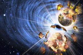 Artist rendition of exploding asteroids