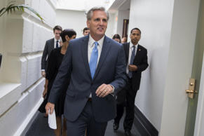 House Majority Leader Kevin McCarthy of Calif., leaves a meeting on Capitol Hill in Washington, Thursday, Oct. 8, 2015.