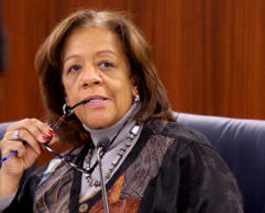 Barbara Byrd-Bennett listens in during the monthly Chicago Public Schools board ...