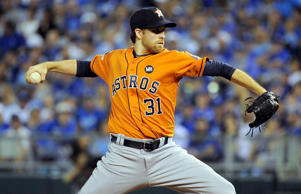Collin McHugh #31 of the Houston Astros throws a pitch in the first inning during game one of the American League Division Series against the Kansas City Royals at Kauffman Stadium on Oct. 8, 2015 in Kansas City, Mo.