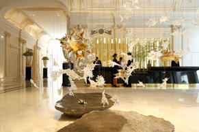 View of the lobby at the Peninsula Paris luxury hotel in Paris