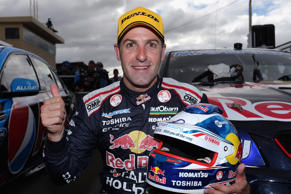 Six-time series champion Jamie Whincup's record lap celebrations were curbed by Ford star Chaz Mostert's horror Bathurst 1000 qualifying crash.