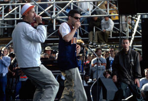 (L R) Ad-Rock, Mike D, and MCA of the Beastie Boys perform at the Tibetan Freedom Concert at Golden Gate Park on June 15, 1996 in San Francisco.