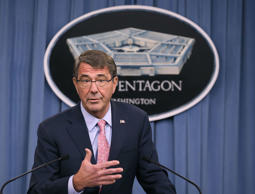 US Secretary of Defense Ashton Carter speaks during a news conference at the Pentagon September 30, 2015 in Arlington, Virginia. Carter talked about the situation in the Middle East including recent Russian airstrikes in Syria.