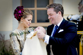 Royal christening of Prince Nicolas at Drottningholm Palace Chapel in Stockholm, Sweden - 11 Oct 2015 Princess Madeleine, Prince Nicolas, Christopher O'Neill