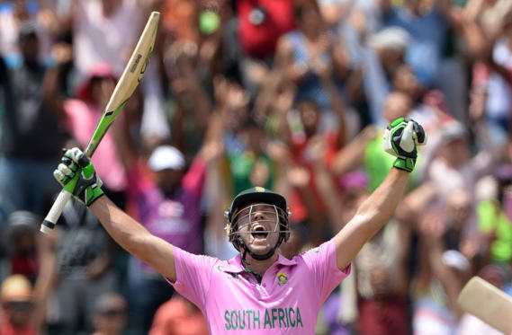 JOHANNESBURG, SOUTH AFRICA - JANUARY 18: AB de Villiers of South Africa celebrates smashing the fastest ever one-day century off just 31 balls during the 2nd Momentum ODI between South Africa and West Indies at Bidvest Wanderers Stadium on January 18, 2015 in Johannesburg, South Africa.