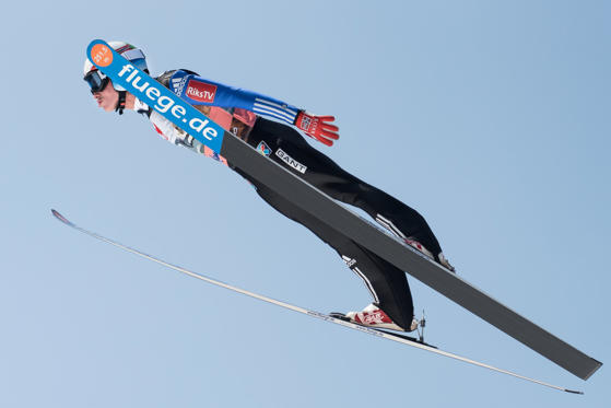 PLANICA, SLOVENIA - 2015/03/21: Anders Fannemel of Norway competes during FIS World Cup Planica Flying Hill Team Ski Jumping.