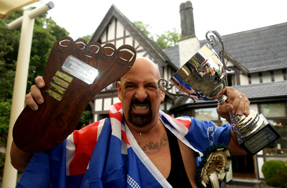 "World Champion Alan ""Nasty"" Nash poses for a photo after retaining his World Championship"