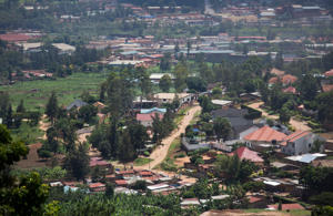 A view over a part of the capital Kigali, in Rwanda.
