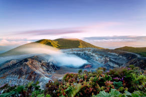 Poas Volcano crater at sunset, Costa Rica