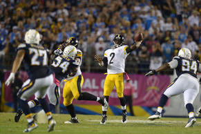 Pittsburgh Steelers quarterback Mike Vick passes during the fourth quarter again...