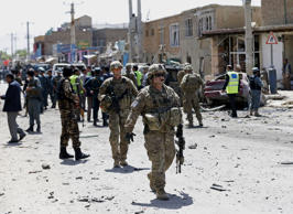 U.S. soldiers arrive at the site of an attack in Kabul, Afghanistan May 17, 2015.
