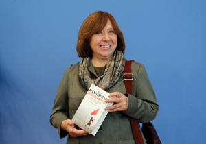 Nobel Literature Prize winner Belarussian author Svetlana Alexievich poses prior to a news conference in Berlin, Germany October 10, 2015.