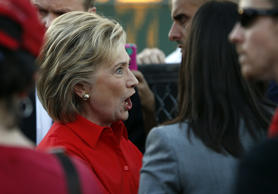 Democratic presidential candidate Hillary Rodham Clinton arrives at a rally Monday, Oct. 12, 2015, in Las Vegas, held by the Culinary Union to support a union drive at the Trump Hotel in Las Vegas.