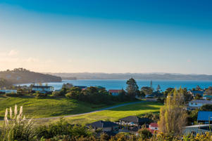 A landscape image from Whangaparoa Peninsula, New Zealand.