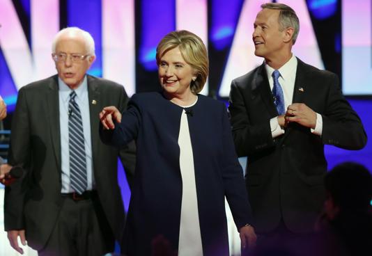 Democratic presidential candidates Sen. Bernie Sanders (I-VT) Hillary Clinton an...