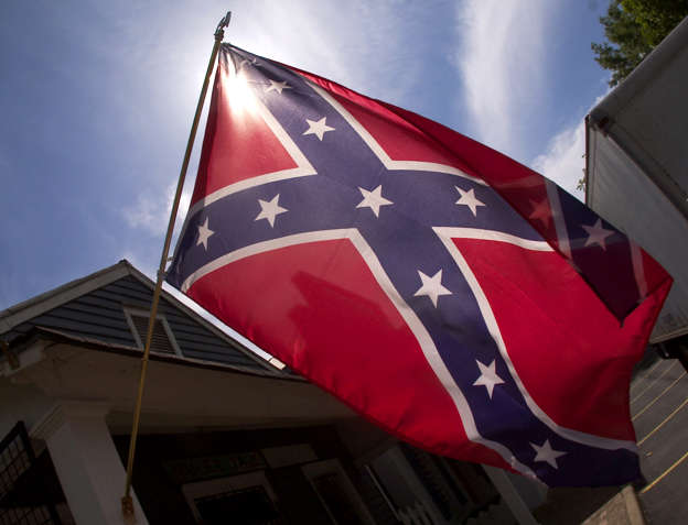 The Confederate flag is shown in downtown Andersonville, Georgia. Steve Schaefer/Getty Images