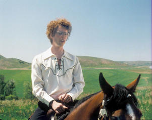 Actor Jon Heder rides a horse in the movie 'Napoleon Dynamite' (2004).