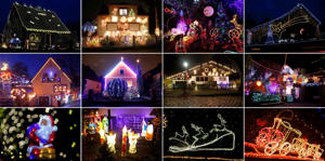 A combination of pictures shows houses and decorations illuminated ahead of Christmas in German cities of Berlin, Hamburg-Heimfeld, Moenchengladbach, Olching and Stolberg