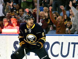 Buffalo Sabres left winger Evander Kane celebrates a short-handed goal during a game against the Arizona Coyotes on Dec. 4, 2015, in Buffalo, N.Y.  Buffalo won 5-2.