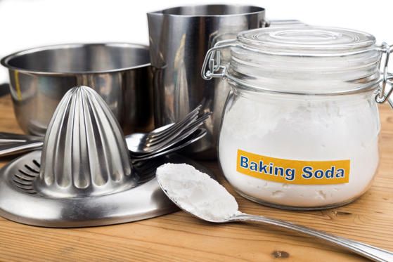 You don't want those surfaces to lose their luster. To keep them bright, you'll need an alumnium pan (or a pan lined with aluminum foil), boiling water, and (you guessed it!) baking soda. Place the tarnished silver or steel in the pan, then pour in the boiling water and baking soda—use a quarter cup for every four cups of boiling water. It'll start bubbling, and after a few minutes, most silver and steel will look good as new.