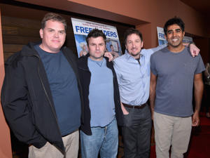 <p>(L-R) Broken Lizard members Kevin Heffernan, Steve Lemme, Paul Soter and Jay Chandrasekhar.</p>