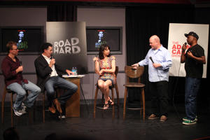 (L-R) Actors Kevin Hench, Adam Carolla, Illeana Douglas, Larry Miller and David Alan Grier attend the press conference announcing details of FundAnything.com campaign.