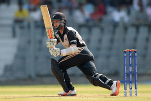 Kane Williamson of New Zealand bats during the ICC Twenty20 World Cup warm up match between New Zealand and England at Wankhede Stadium on March 12, 2016 in Mumbai, India