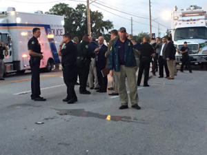 Shooting at Pulse Nightclub, Orlando, Florida, USA - 12 Jun 2016 Police officers at the site of the shooting incident in Orlando, Florida, the United States