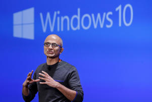 In this Jan. 21, 2015 file photo, Microsoft CEO Satya Nadella speaks at an event demonstrating the new features of Windows 10 at the company's headquarters in Redmond, Washington, U.S.
