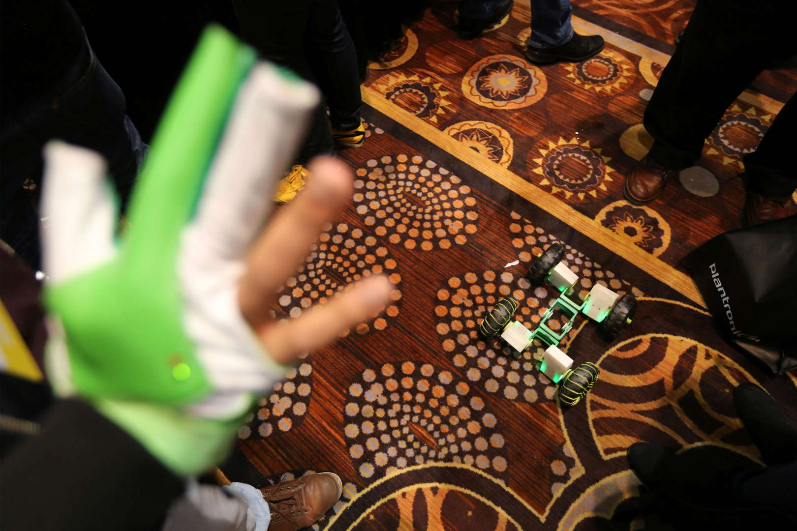 A Zero hand-controlled robotics kit is used on the floor of The CES Unveiled press event, January 4, 2016 in Las Vegas, Nevada ahead of the CES 2016 Consumer Electronics Show. CES, the annual consumer electronics and consumer technology tradeshow in Las Vegas boasts some 2.2 million net square feet (204,386 square meters) of exhibition space. AFP PHOTO / DAVID MCNEW / AFP / DAVID MCNEW (Photo credit should read DAVID MCNEW/AFP/Getty Images)