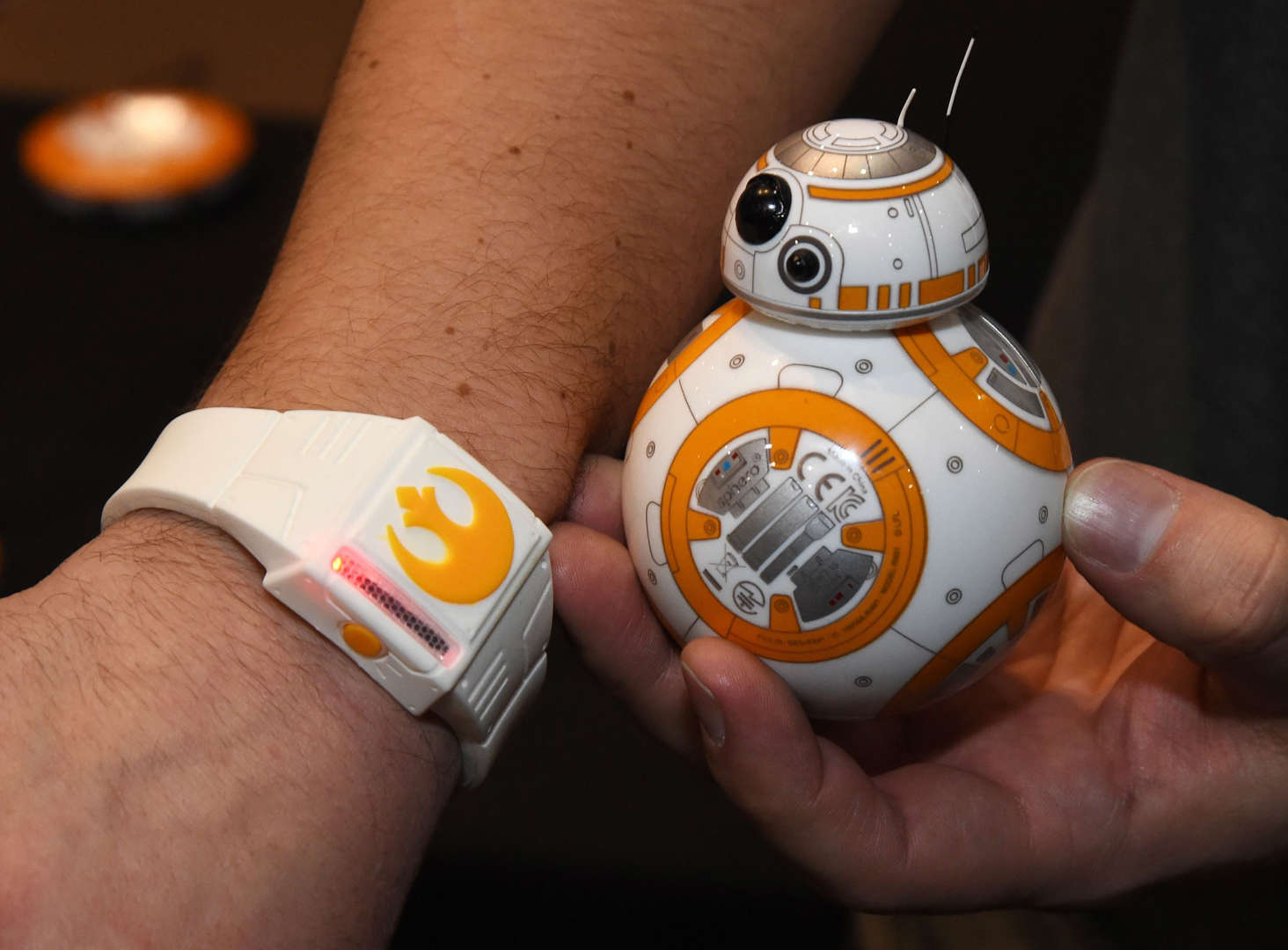 LAS VEGAS, NV - JANUARY 04: Sphero's BB-8 technical prototype with Force Band is displayed during a press event for CES 2016 at the Mandalay Bay Convention Center on January 4, 2016 in Las Vegas, Nevada. Sphero partnered with Lucasfilm to build the USD 150, app-enabled toy from the droid character in the film 'Star Wars: The Force Awakens.' It can be controlled using Bluetooth by a smartphone or the Force Band and features gesture-based technology enabling users to control it with Jedi-like movements. CES, the world's largest annual consumer technology trade show, runs from January 6-9 and is expected to feature 3,600 exhibitors showing off their latest products and services to more than 150,000 attendees. (Photo by Ethan Miller/Getty Images)