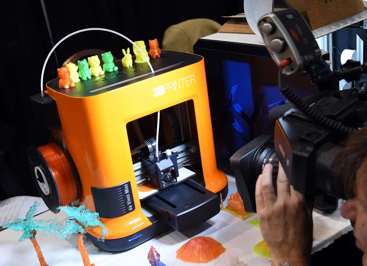 LAS VEGAS, NV - JANUARY 04: The da Vinci Mini 3D printer from xyzPrinting is displayed during a press event for CES 2016 at the Mandalay Bay Convention Center on January 4, 2016 in Las Vegas, Nevada. The 7.8-cubic-inch, USD 269 3D printer, scheduled to be available in the second quarter of 2016, uses templates received by wireless transmission or USB. CES, the world's largest annual consumer technology trade show, runs from January 6-9 and is expected to feature 3,600 exhibitors showing off their latest products and services to more than 150,000 attendees. (Photo by Ethan Miller/Getty Images)
