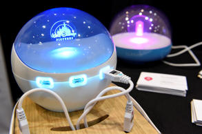 The Bubbles Co. smart charging station is displayed during CES Unveiled at the 2...
