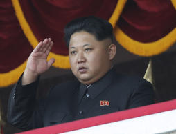 North Korean leader Kim Jong Un salutes at a parade in Pyongyang, North Korea.