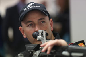 Para-Shooter Michael Johnson sights his target at the Mt Eden Shooting Range following the selection announcement of the New Zealand Para-Shooting team for the Rio 2016 Paralympic Games on June 14.