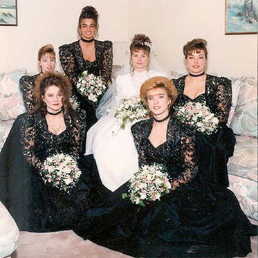 The bridesmaids look like they're in mourning…