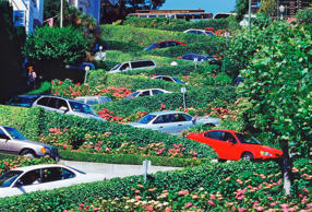 Cars on Lombard Street in San Francisco.