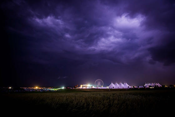 NEUHAUSEN, GERMANY - JUNE 24:  General view with heavy thunderstorms are seen during the Southside festival on June 24, 2016 in Neuhausen, Germany.  (Photo by Thomas Niedermueller/Getty Images)