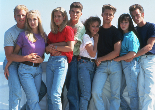Lysbilde 1 av 24: FILM STILLS OF 'BEVERLY HILLS, 90210 - TV' WITH 1991, ENSEMBLE IN 1991