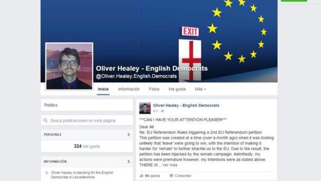 Esta es la página en Facebook de Oliver Healey.