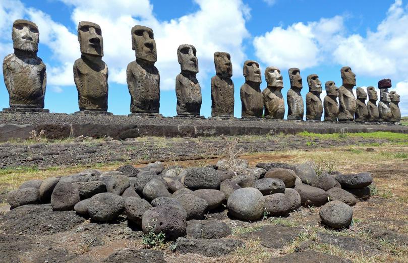 Fifteen Moai statues on Easter Island.
