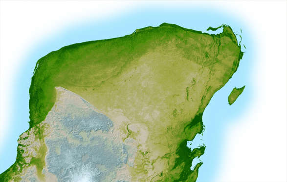 WASHINGTON - MARCH 7: This NASA handout image is a high resolution topographic map of the Yucatan Peninsula created with data collected in the Shuttle Radar Topography Mission and released on March 7, 2003 in Washington, D.C. In the upper left portion o