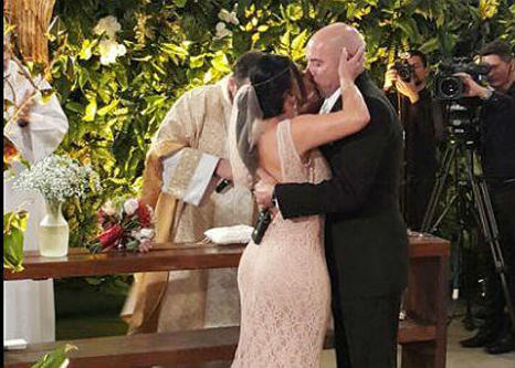 Os dois já tinham se casado na França no civil em Portugal e no Brasil