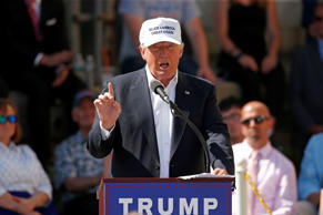 Republican presidential candidate Donald Trump speaks at a town hall-style campa...