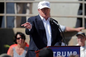 U.S. Republican presidential candidate Donald Trump speaks at a campaign town ha...