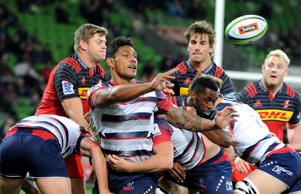 Lopeti Timani of the Rebels passes the ball, during the Round 15 Super Rugby match between the Melbourne Rebels and the Stormers at AAMI Park in Melbourne.