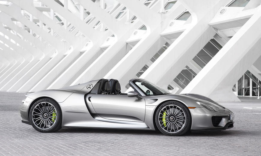 MSRP: $845,000<br>Horsepower: 887<br>The Porsche 918 is one of the most futuristic and fuel-efficient sports cars in America. It also happens to be one of the fastest. Power comes from a 4.6-liter V8 engine teamed with two electric motors for a total combined output of 887 horsepower put down to all four wheels. Performance stats are stunning — 60 mph comes up in just 2.5 seconds, 124 mph in 7.3 seconds and top speed is 214 mph. Even more impressive is the handling — the 918 is one of just a few production cars to complete a lap of the famed Nurburgring track in Germany in less than 7 minutes. All this and an outstanding 67 mpge (miles per gallon equivalent). The Weissach package adds another level of exclusivity and performance with reduced weight, special colors and unique magnesium wheels.